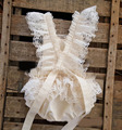 Hot 2017 Baby Girl Rompers Summer Girl Ruffles Overalls Kids bow Rompers ivory Toddler Girl lace Clothings 0 to 24m