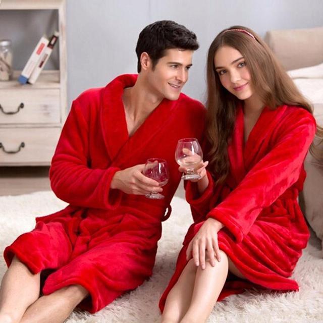 On Sale Women Men Silk Soft Long Lounge Bathrobe Warm Dressing Gown ...