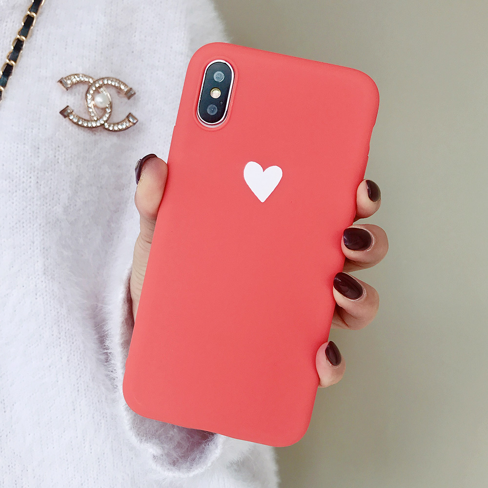 KIPX1073_8_JONSNOW Matte Phone Case For iPhone XR XS Max 6 6S 7 8 Plus 6Plus Candy Color Simple Heart Design Soft TPU Cases Back Cover
