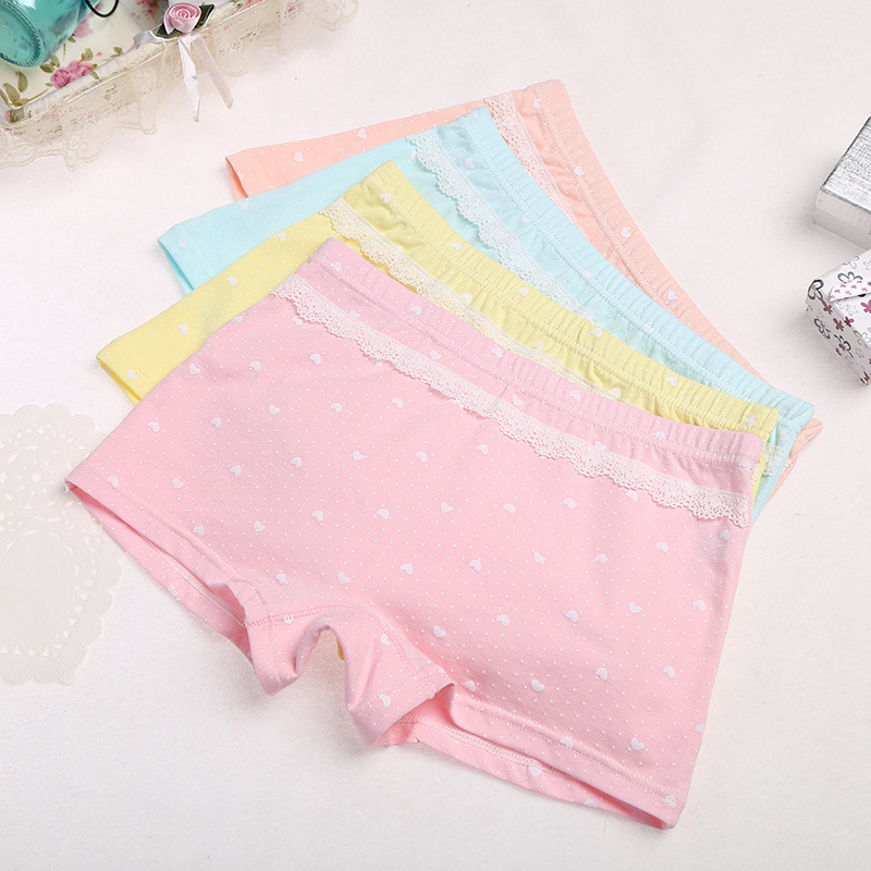 1Pcs/Lot Candy Dot Colors Girls Boxer Breathable Cotton Material Kids Girls Underwear For Baby Panties Children's Clothing