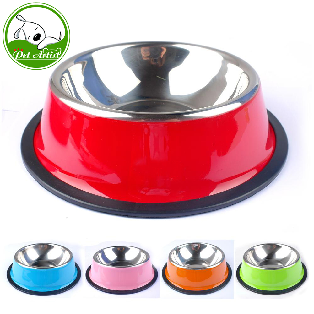 Stainless Steel Puppy Cat Dog Food Drink Water Bowl Dish