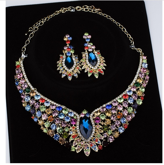 2016New Diseño de Cristal Color de La Flor sistemas de la joyería Nupcial de Cristal Imitado de la Piedra Preciosa Con Incrustaciones de Joyería de La Boda Fija el Collar Pendientes