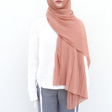 MECON HING 10pcs/lot women solid plain pleated wraps long islam chiffon scarves