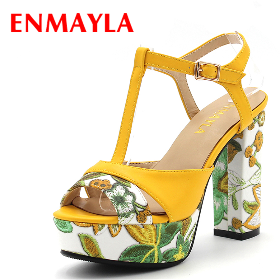 ENMAYLA Verano Chuncky Heels Open Toe Tacones Altos Plataforma Gladiador Sandalias Mujeres Embrioded Amarillo T Correa Sandalias Zapatos Mujer