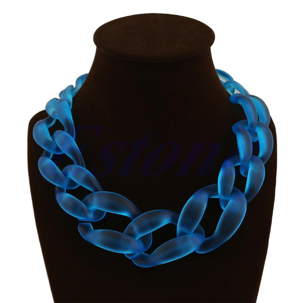JAVRICK Hot Lackingone Acrylic Collar Chunky Choker Statement Bib Chain Necklace Pendants 5 Color
