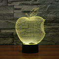 Apple 3D Illusion Optical Bedroom Novelty Nighting LED Desk Table Light Lamp Abstract Visual 7 Kinds of Colors Change Touch Key