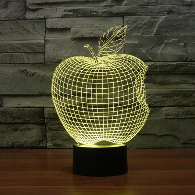 Apple 3d ilusão óptica quarto novidade nighting led table desk Lâmpada de luz Visual Abstrato 7 Tipos de Cores Mudar Toque chave