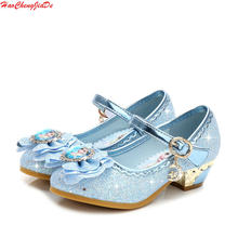 a77f1b9c249 Sandalias de cuero para niños tacones altos niñas princesa verano Elsa  zapatos Chaussure Enfants sandalias fiesta