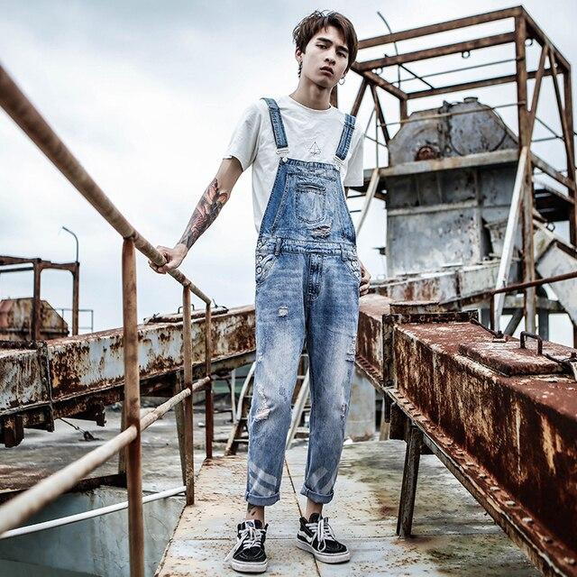 2019 New Harajuku bib Men's washed Light Blue Slim jeans Hole Nine pants pants suspenders more size M-XL XXL