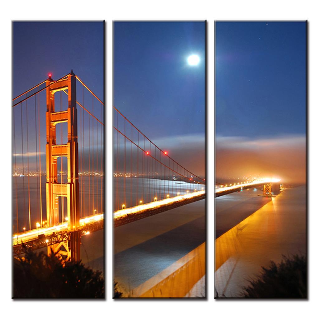 3 Pcs/Set Framed Golden Gate Bridge Under Moon Painting On Canvas Landscape The Night of Bridge Wall Art For Bathroom Decor|oil painting art|painting surrealism|painting oil landscape -