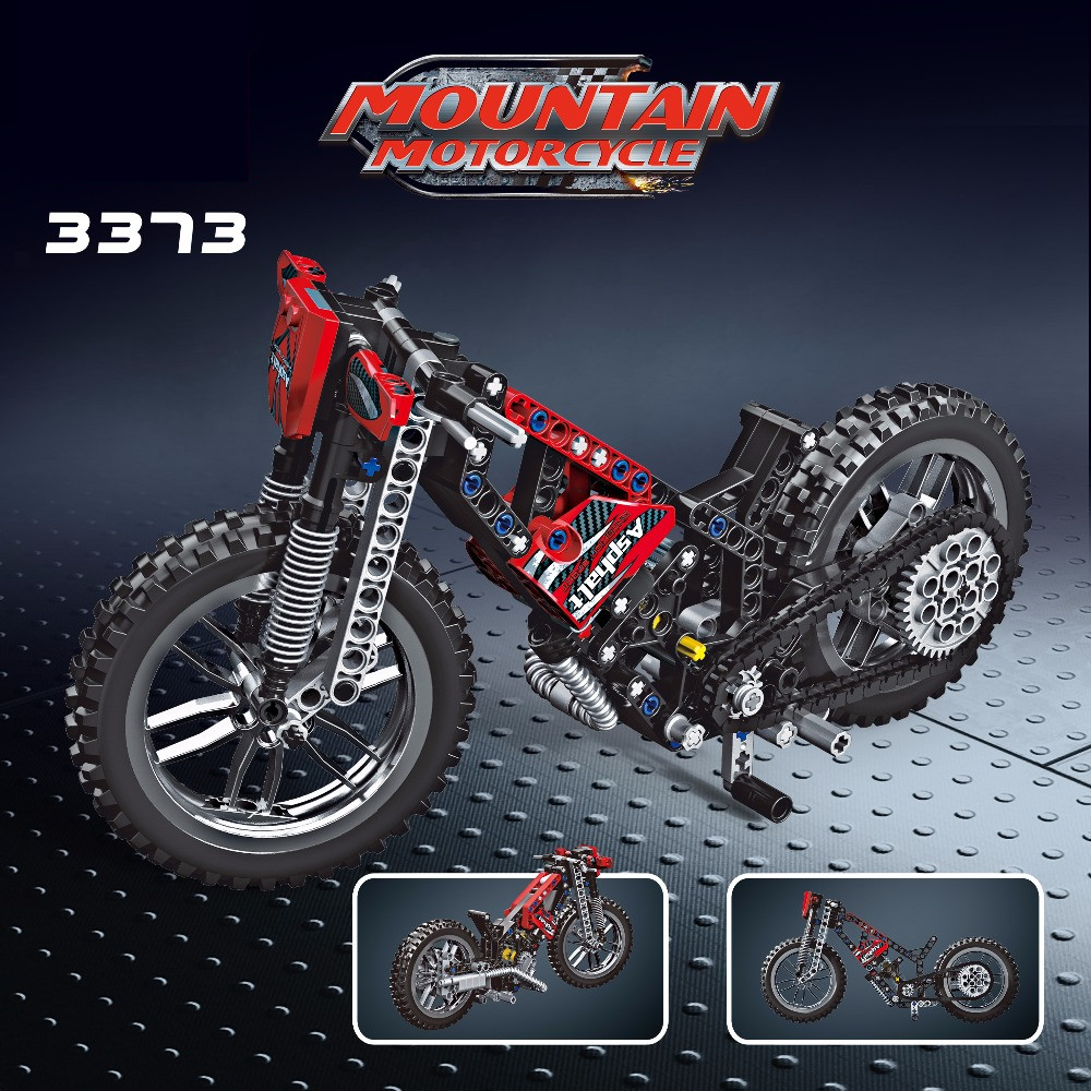 New Legoings Technic 253pcs Deformable Cross-country Motorcycle 2 Model Building Blocks Toy Educational Kid's Birthday