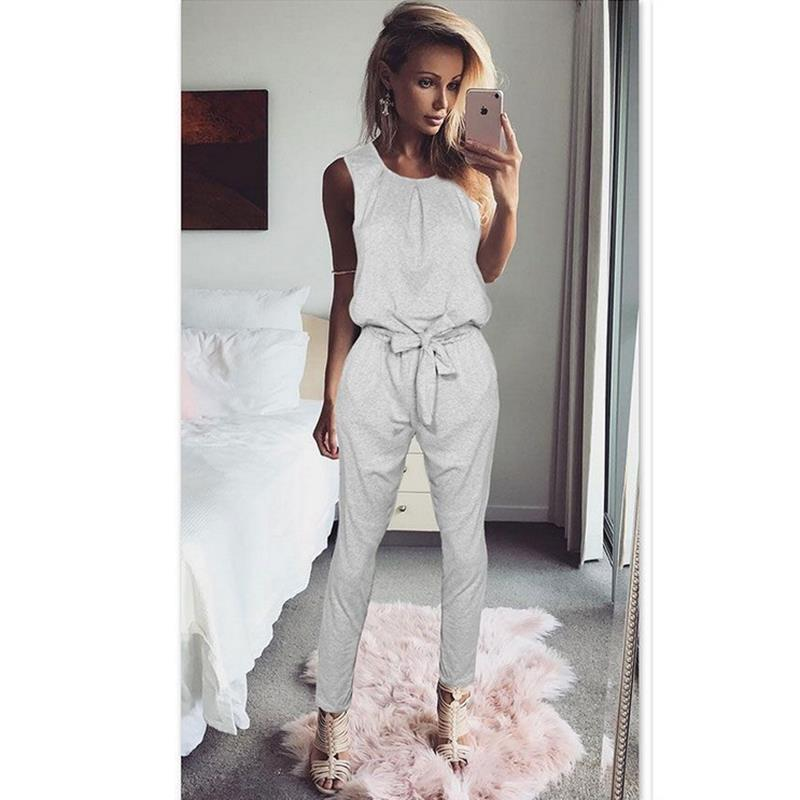 Women Tank Top   Jumpsuit   Black Summer Rompers Ladies Casual Elegant Sleeveless Long Pants Plus Size Overalls Playsuit WS949X