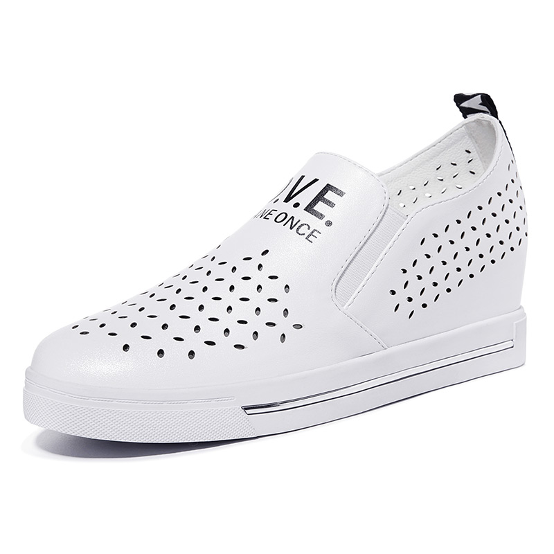 ФОТО Women's Black White Height Increased Breathable Flat Wedge Platform Breathable Work Lady Girl Flats Shoes