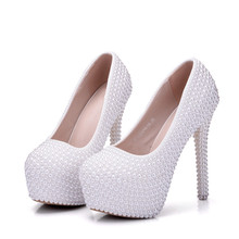 цены Full Pearls Crystal Wedding Shoes Bride 14CM Super High Heels Platforms White Lady Party Proms Dress Dancing Pumps XY-A0325