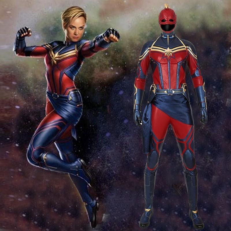Avengers 4 Endgame capitaine Marvel Cosplay mlle Marvel Carol Danvers Costume combinaison héroïne Halloween ensemble complet avec masque bottes