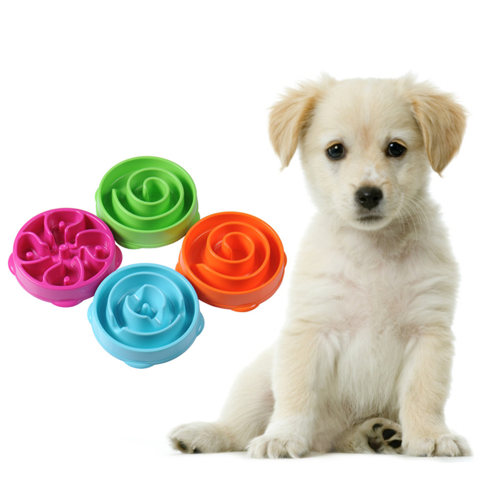 1PC Dog Cat Pet Portable Quality ABS Plastic Slow Down Eating Anti Choke Travel Feeding Bowl Water Dish Feeder Candy Color