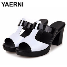 YAERNI 2019Fashion Women's Shoes Patent Leather Slippers Female Sandals Casual Slip-On Fretwork Cut-Outs Mixed ColorsE766(China)