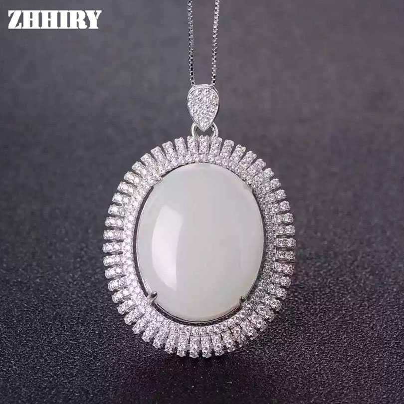 Natural White Jade Necklace 925 Sterling Silver Women Jewelry Pendant With Chain ZHHIRY