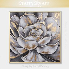 Factory Price Hand-painted High Quality Gray Flower with Gold Foil Oil Painting on Canvas Beautiful Gray Flower Acrylic Painting 2016 high quality e light handle hand piece with factory price page 3