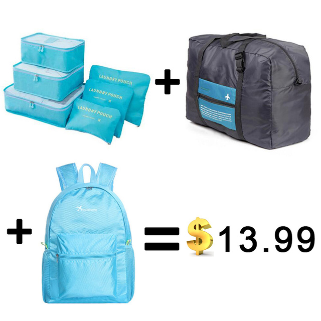 New Nylon Packing Cube Travel Bags Zipper Waterproof 6 Pieces One Set Big Capacity Of Bags Unisex Clothing Sorting Organize Bag
