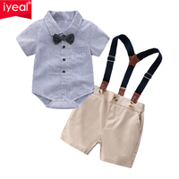 IYEAL Fashion Summer Baby Boys Birthday Party Outfit Gentleman Short Sleeve Shirts Bowtie Suspender Pants for 0 2 Years
