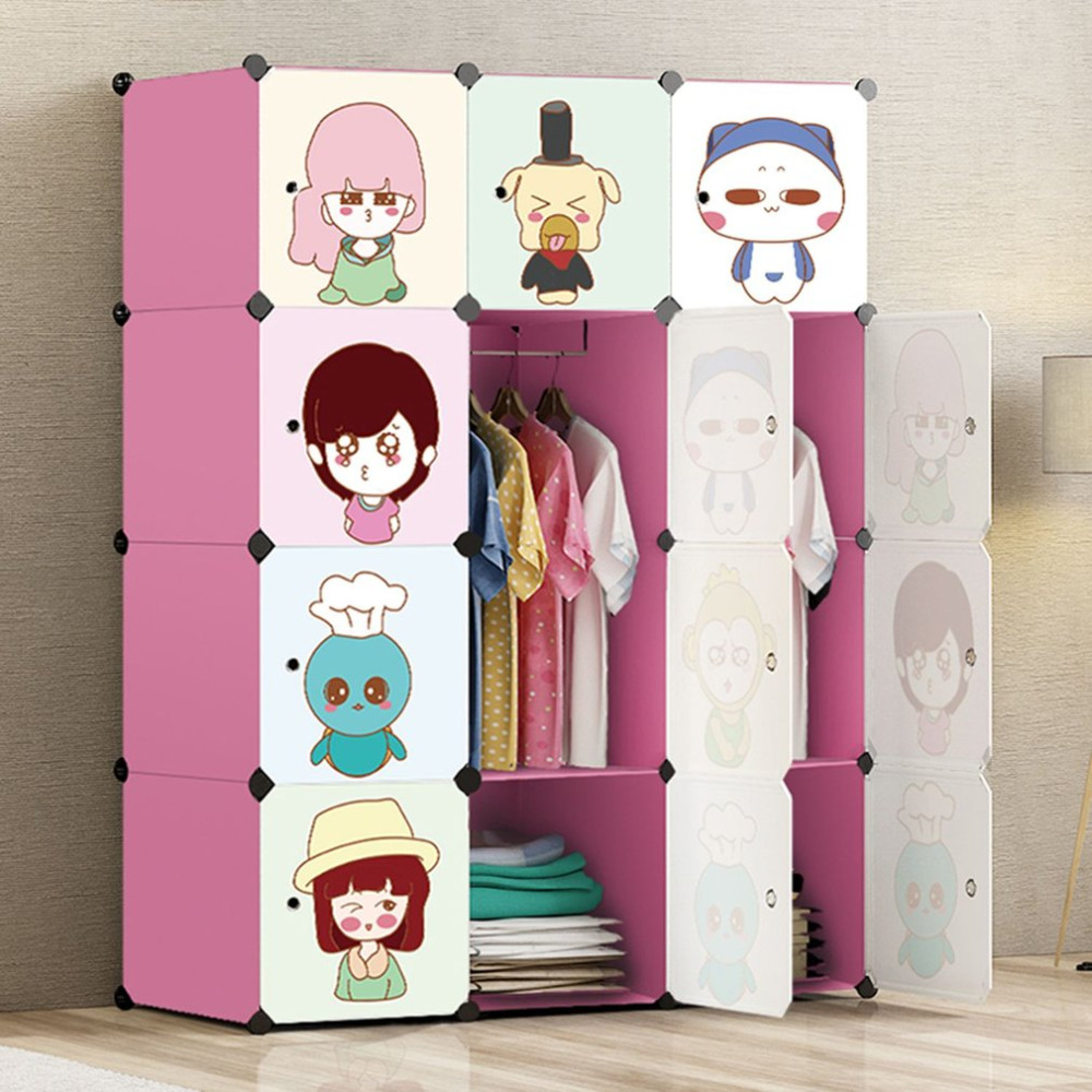 12 Doors Folding Children Clothes Closet Plastic Wardrobe Cabinet DIY Clothing Storage Organizer Clothes Hanging Rack 20 cubes interlocking modular storage organizer shelving closet wardrobes rack with doors for home clothes shoes toys storage