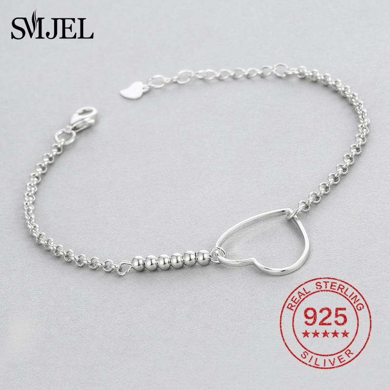 SMJEL Wedding Heart Charm Bracelets Women Solid 925 Sterling Silver Beads Bracelets Bangles pulseira masculina