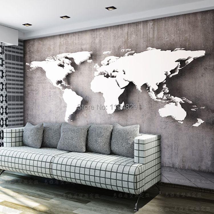 Old White And Back Wall World Map Large Mural Wallpaper Tv Sofa Background Photo Wallpapers Used For Living Room In From Home Improvement On