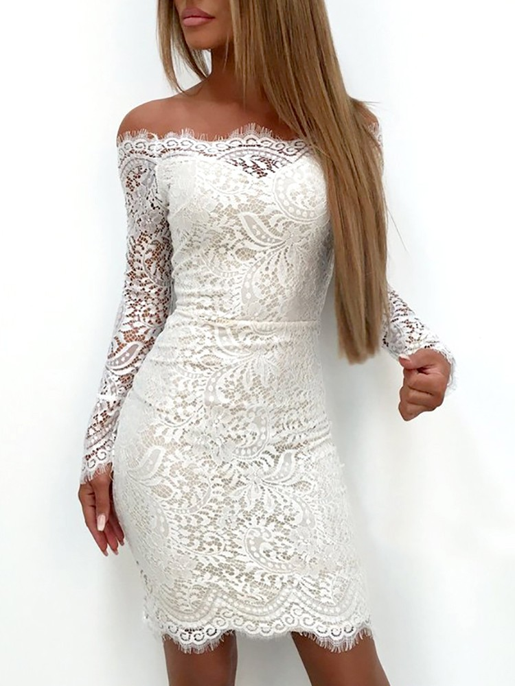 1b10020f639 Fashion Womens Bodycon Bandage Dress Ladies Formal Sexy Lace Off Shoulder  Mini Dresses