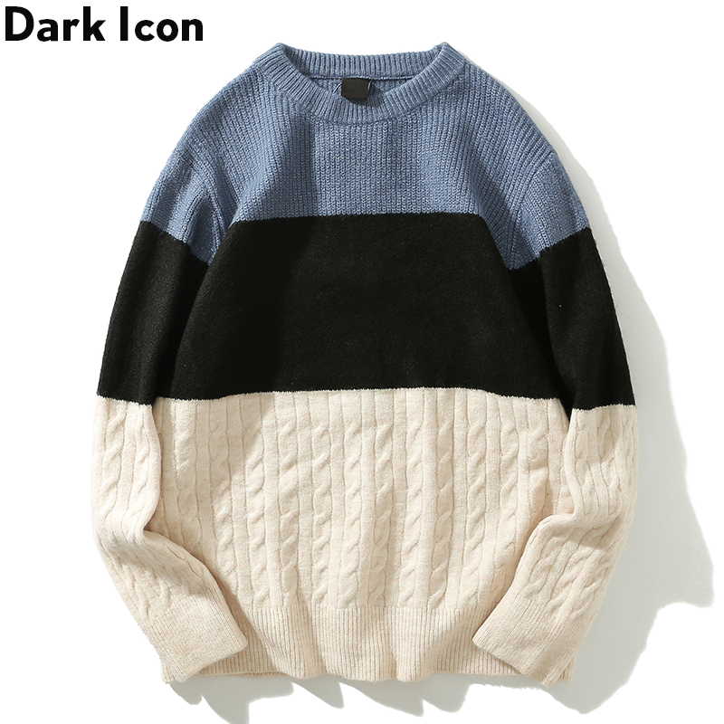 Dark Icon Color Block Men's Sweater Long Sleeve Oversized Sweater for Men 2Colors