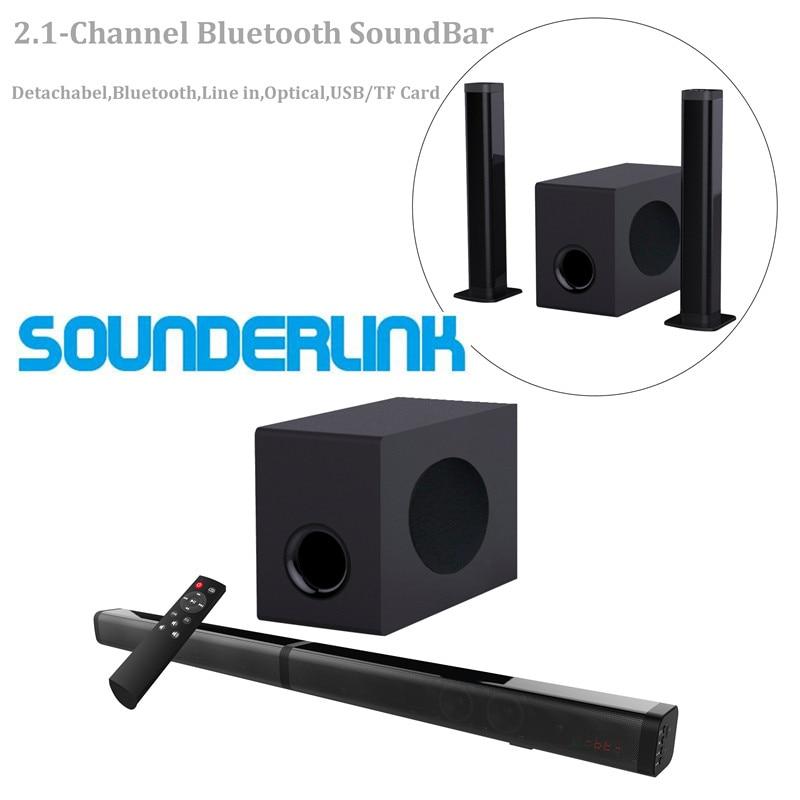 Bluetooth com Subwoofer Sistema de Som Surround de Cinema em Casa para tv Soundbar Óptico Vitual 3d 2.1ch Usb tf
