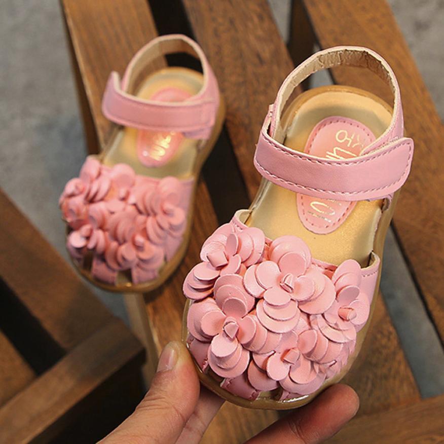 2018 Summer Fashion Children Sandals Girls Princess Flower Casual Child Baby Girls Single Leather Kids Sandals Shoes