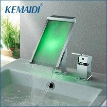 KEMAIDI 2 Unids Grifo de la Cascada Baño Grifo Del Lavabo Del Agua potencia Mezclador Monomando de Lavabo Cromo Grifo Cambio de 3 Colores LED Grifo JN6110B
