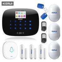 KERUI Metal Remote Control GSM SMS Burglar Alarm System Security System Alarm Android iOS APP Control Door Sensor Alarm Systems