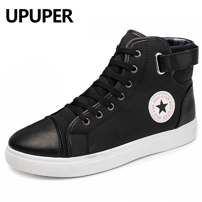 2018 New Fashion High Top Canvas Shoes Men Stitching Leather Men's Casual Shoes Lace-up Flats Comfortable Soft Footwear 2018 new fashion high top canvas shoes men stitching leather men s casual shoes lace up flats comfortable soft footwear