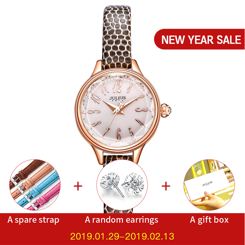 JULIUS 2018 Invierno Nuevo Cocodrilo Correa de cuero genuino Oro rosa Relojes Mujer Vestido de pulsera de moda de señora Horas Reloj JA-932