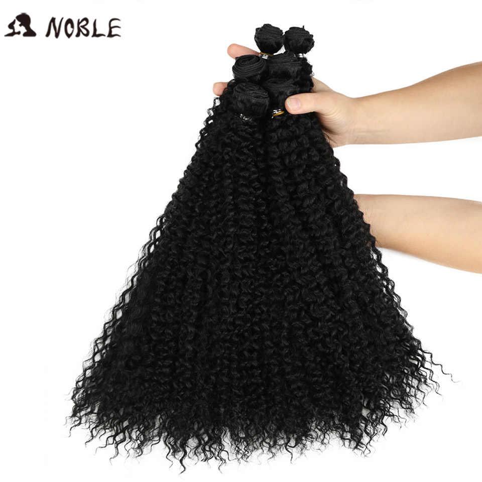 Edle Afro Verworrene Lockige Haarwebart 18-22 zoll 6 teile/los Synthetische Haar Bundles Mit Verschluss Ombre Haar Bundles synthetische Haar