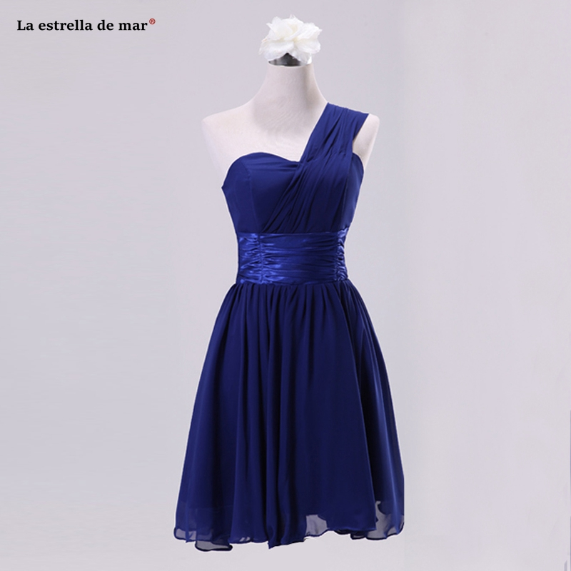 Robe demoiselle d'honneur pour femme hot chiffon one shoulder royal blue pink purple mint green   bridesmaid     dress   short