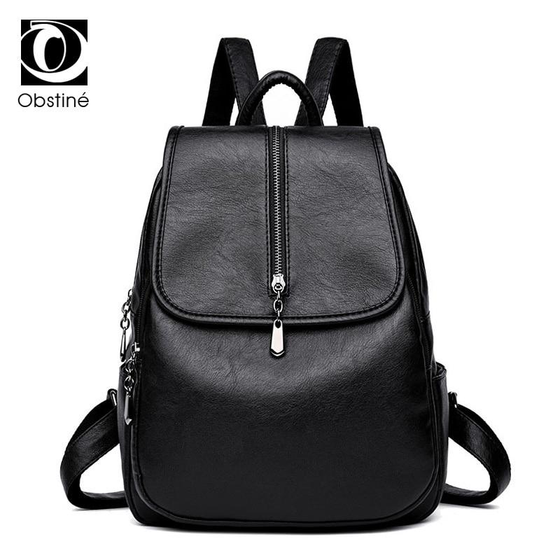 Fashion Women Backpack Pu Leather School Bag High Quality Backpacks Womens Black Bagpack Female Rucksack Shoulder Bags