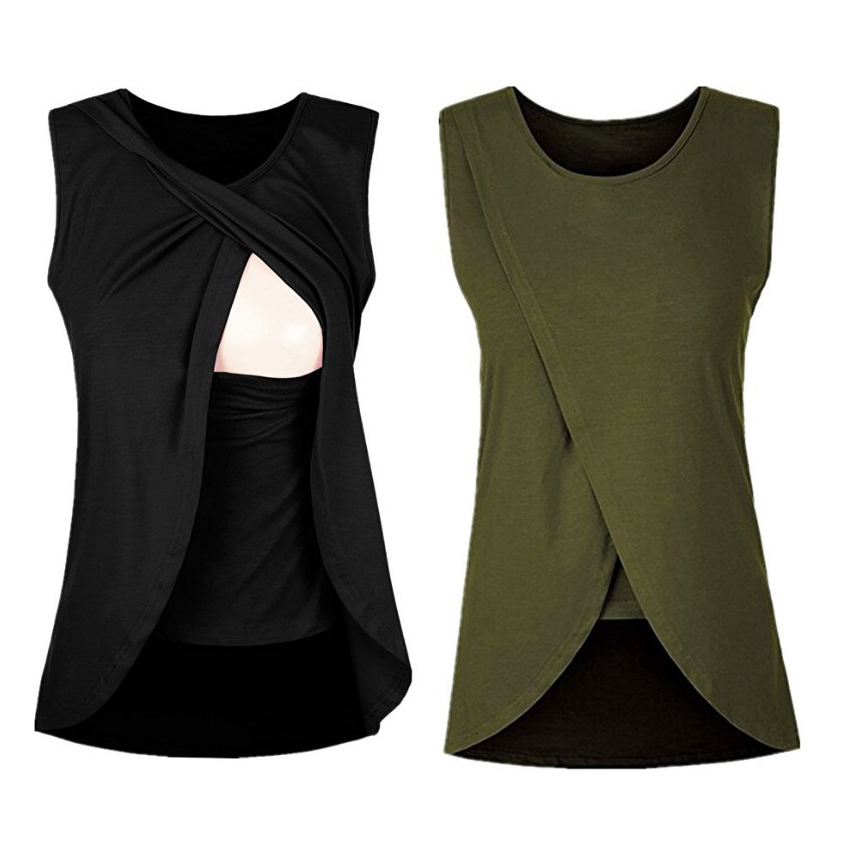 Summer Quality Maternity Clothes Female Vest Top Pregnancy Breastfeeding Nursing Tops Soft Pure Color Shirts New Fashion Shirts