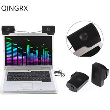 цена на QINGRX Portable Mini USB Stereo Speaker Soundbar clipon Speakers for Notebook Laptop Phone Music Player Computer PC with Clip