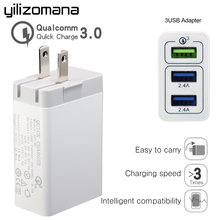 YILIZOMANA 30W Quick Charger QC 3.0 EU US UK 3 Ports USB Fast travel Chargers For iPhone 7/8/X iPad Samsung S8 Mobile Phone