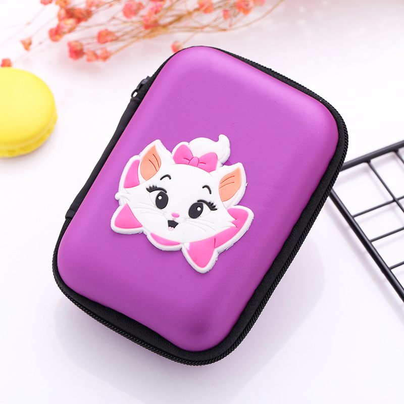 Women Girl Coin Purse Anime Cartoon Marie Cat Earphone Charger Cable Storage Bags Rectangle EVA Silicone Wallets for Kids Gifts