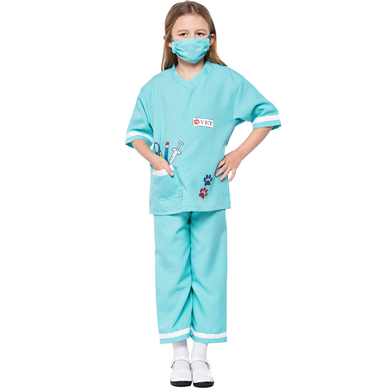 Kids Animal Doctor Vet Outfit For Girls Role Play Halloween Costume