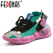 FEDONAS 2019 Women Sneakers New Arrival Corss-tied Flats Platforms Casual Shoes Woman Breathable Quality Sport Woman's Shoes