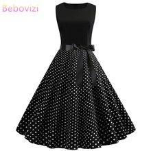 Bebovizi Women New 2019 Summer Bandage Dress Patchwork Vintage Dot Print Casual Office Elegant Sexy Plus Size Black Dresses
