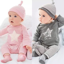 Child summer paragraph boy set ins male female child five-pointed star long sleeve length pants hat three piece set children's