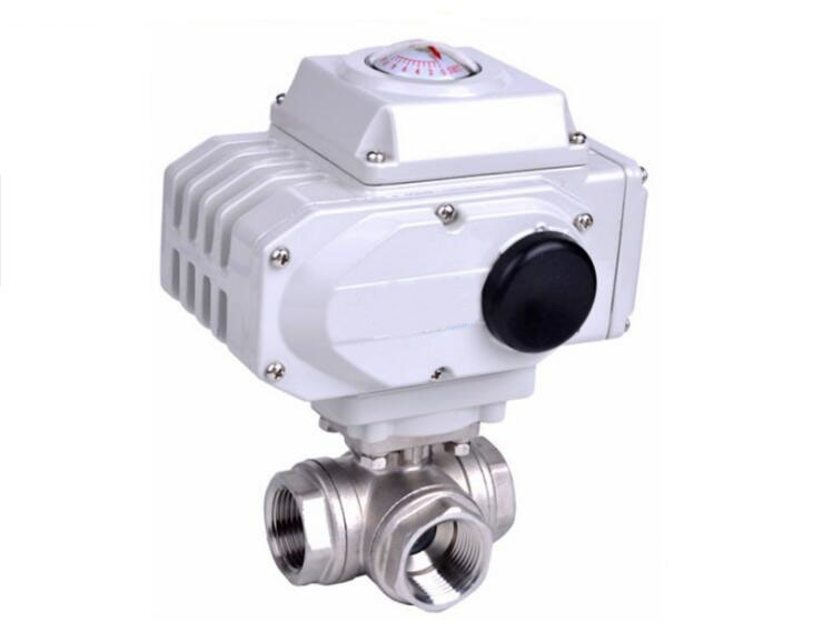 1/2 3 Way Stainless Steel SS304 Pneumatic Electric Ball Valve  DN15 1 2 dc24vbrass 3 way t port motorized valve electric ball valve 3 wires cr301 dn15 electric valve for solar heating