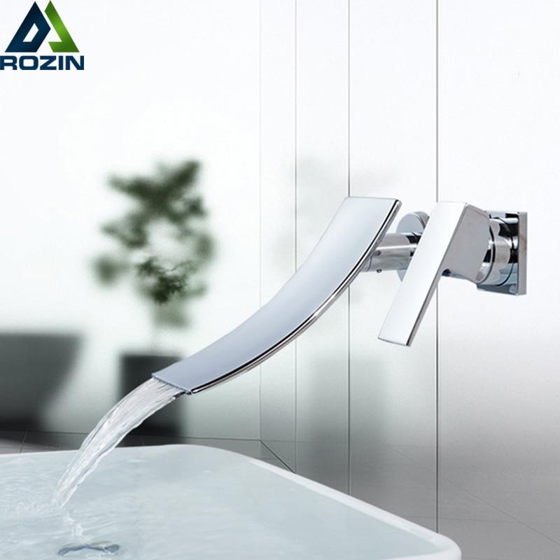 Bright Chrome Bathroom Waterfall Basin Mixer Faucet Single Lever Wall Mounted Washing Basin Taps Waterfall Bath