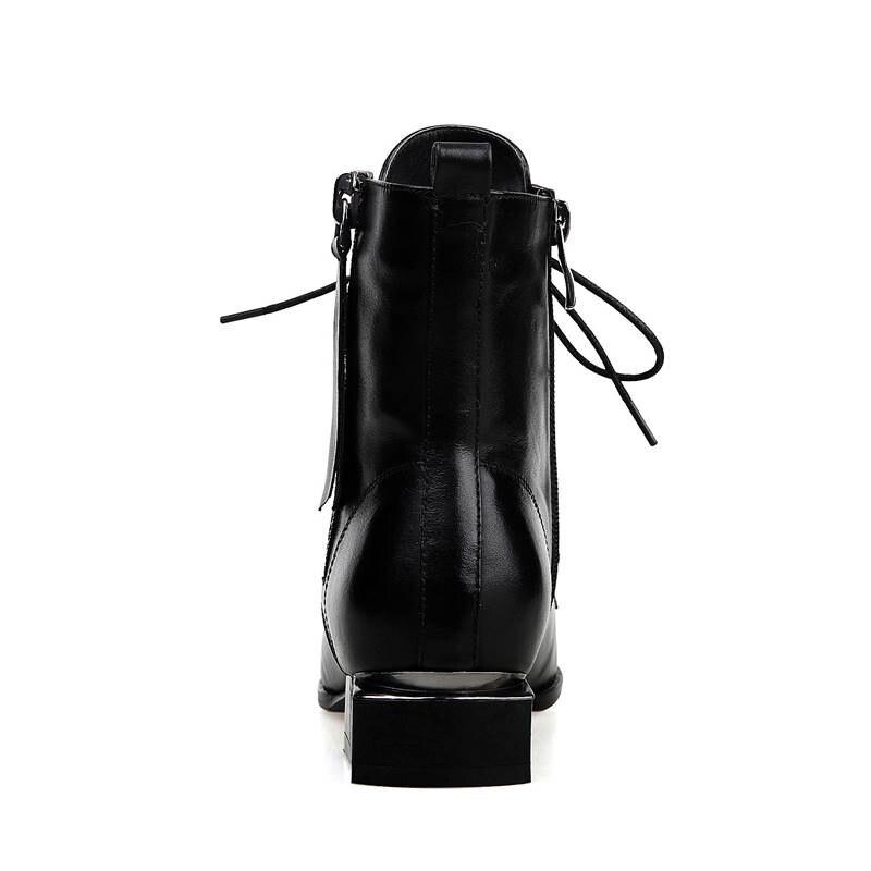 Up Boucle Noir Dentelle En Pointu Casual Cuir 2018 Bottes Femmes Printemps Chaussures Bout Mode Automne Smirnova Ankel Véritable Nouvelle Gland qwfR76vHwO